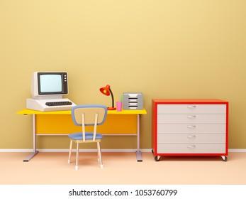 Retro office scene in 80s style, flat interior. 3d illustration
