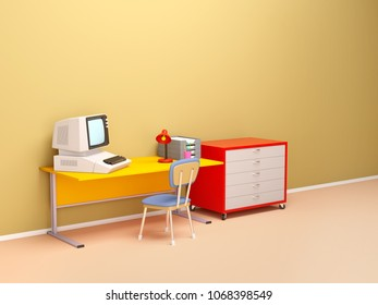 Retro office scene in 80s style. 3d illustration
