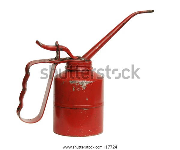 A retro oil can isolated on white with clipping path.