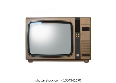 Retro old brown television from 80s isolated on white background.