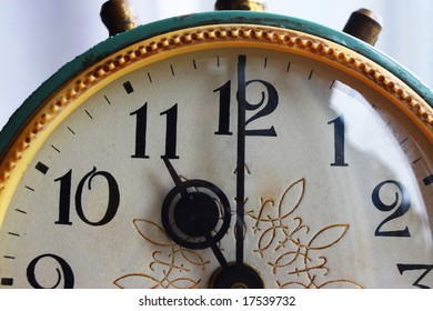 Retro old clock with the gold pattern