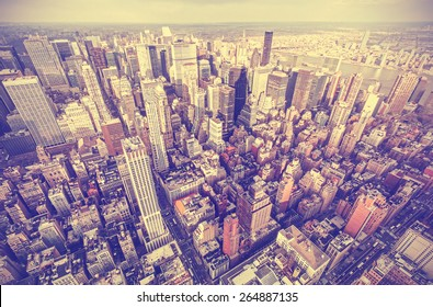 Retro old film stylized aerial picture of New York City downtown, USA.