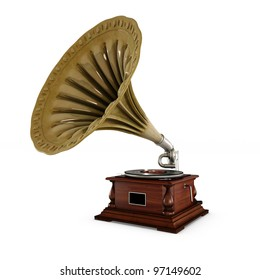 retro old gramophone with horn isolated on white with Clipping Path