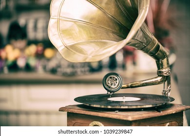 Retro old gramophone radio. Vintage style toned photo