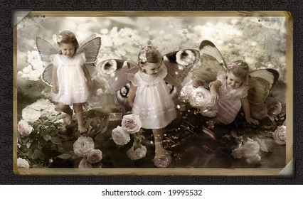Retro old post card with fairy