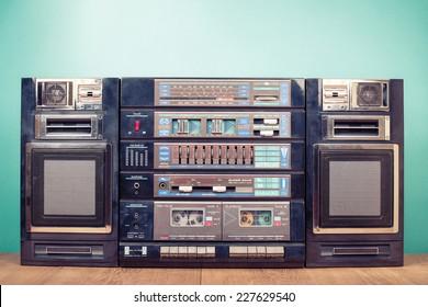 Retro old radio cassette recorder from 80s. Very big ghetto blaster