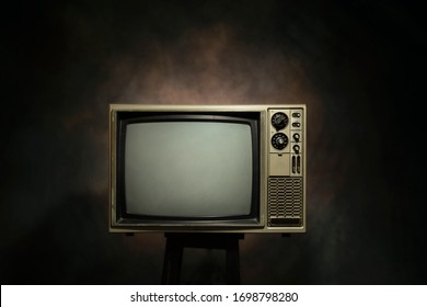 Retro old television on the black background, clipping path
