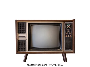 Retro old TV with blank screen standing isolated on white background, vintage television with clipping path