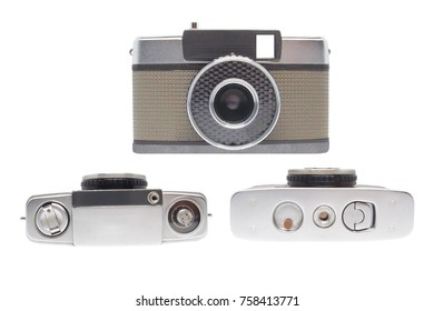 Retro, old, vintage and antique fashion manual film camera made from silver steel metal, gray leather for negative color black & white object on isolated white background
