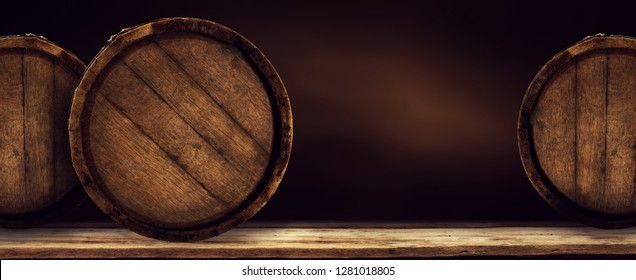Retro old wooden barrel on desk and free space for your decoration.