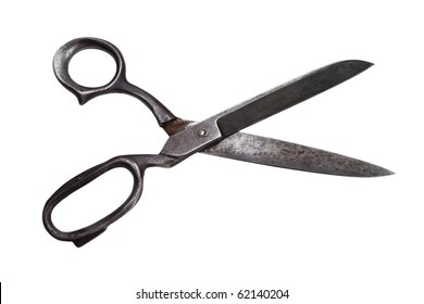 retro opened Scissors isolated on white
