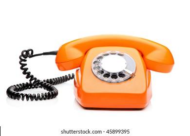 A retro orange phone isolated on white background