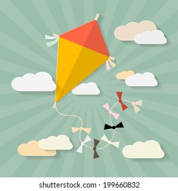Retro Paper Kite on Sky with Clouds Illustration