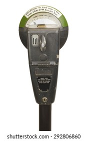 Retro Parking Meter with Time Isolated on White Background.