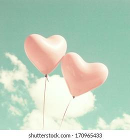 Retro Pastel Love Balloons on Mint Sky