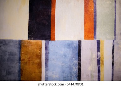 Retro pattern of vertical rectangular of orange, yellow, blue, black and white