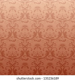 Retro pattern in vintage style. Seamless baroque ornament with floral elements in bronze color.