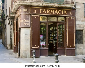 Retro pharmacy store in Barcelona,Spain
