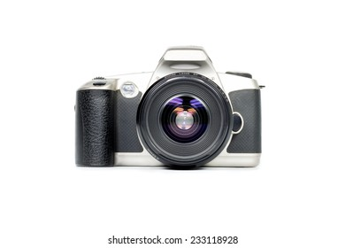 retro photo camera  isolated on white background, front view