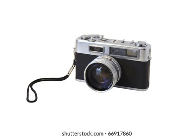 Retro photo camera isolated on white background. Rangefinder film camera with nice details, silver parts and a nice old vintage design. Use it on websites or other design projects you work.