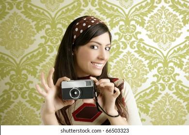 Retro photo camera shooting woman green sixties wallpaper vintage