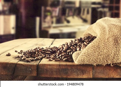 retro photo of coffee and old sack with beans