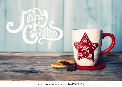 Retro photo of cute coffee mug with cookies