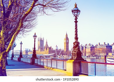 Retro Photo Effect - Lamp on South Bank of River Thames with Big Ben and Palace of Westminster in Background, London, England, UK