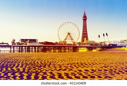 RETRO PHOTO FILTER EFFECT: Blackpool Tower and Central Pier Ferris Wheel, Lancashire, England, UK