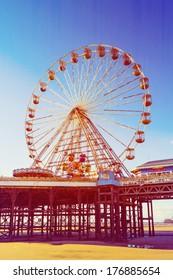 Retro Photo Filter Effect Ferris Wheel on Central Pier, Blackpool, Lancashire, UK