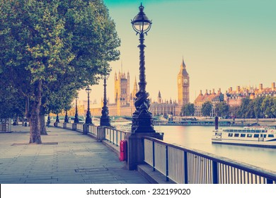 Retro Photo  Filter Effect - Street Lamp on South Bank of River Thames with Big Ben and Palace of Westminster in Background, London, England, UK