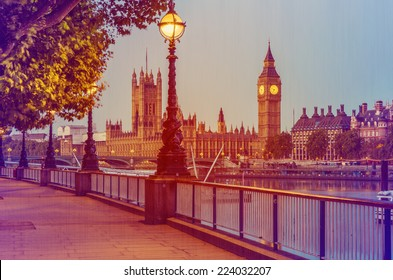 Retro Photo Filter Processed Effect - Street Lamp on South Bank of River Thames with Big Ben and Palace of Westminster in Background, London, England, UK