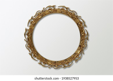 Retro photo frame or mirror frame with a wall background,