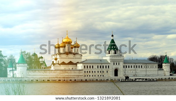 Retro photo Ipatiev Monastery on the Volga River in the old Russian city in the spring