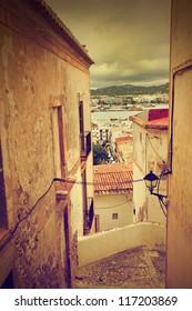 Retro photo of old city architecture in Ibiza - Eivissa, Spain, Balearic islands