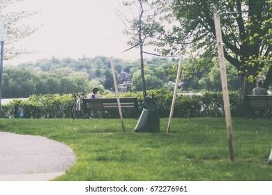 A retro photo of a park.