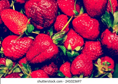Retro Photo Of Red Summer Strawberry Fruits In Market Display