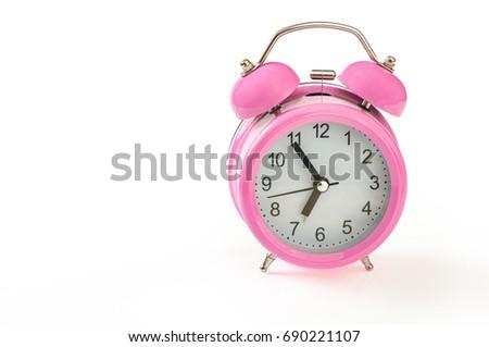 Retro Pink Alarm Clock 5 Minutes Stock Photo Edit Now 690221107