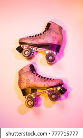 Retro pink glittery roller skates - poster layout design, disco style. Colorful (multicolor tonal transitions) background with free text (copy) space.