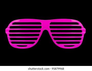 Retro pink shades sunglasses isolated on black background