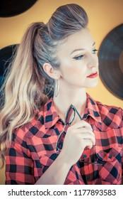 Retro play / Vintage photo of a glamorous pinup girl, LP vinyl record