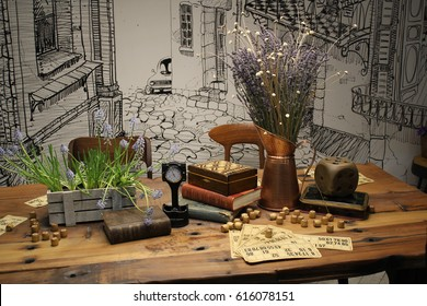 Retro playing table in tambola lotto with a decor of watches, books and vases