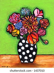 Retro Polka Dot Bouquet Illustration/Painting