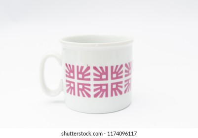 Retro porcelain mug isolated
