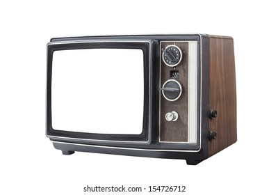 Retro portable television set with cut out screen and clipping path.