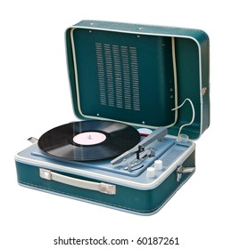 Retro portable turntable isolated. Clipping path included.