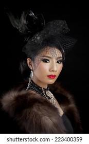 Retro portrait of beautiful woman. Vintage style. Fashion photo,Gatsby Style