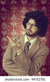 Retro portrait of a businessman who thinks