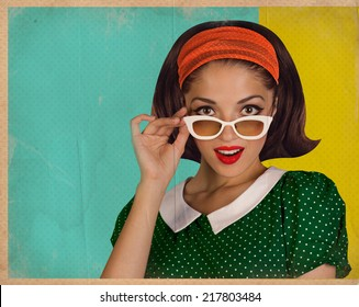 Retro pretty woman face.Vintage background illustration on old paper texture