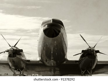 Retro propeller airplane front view